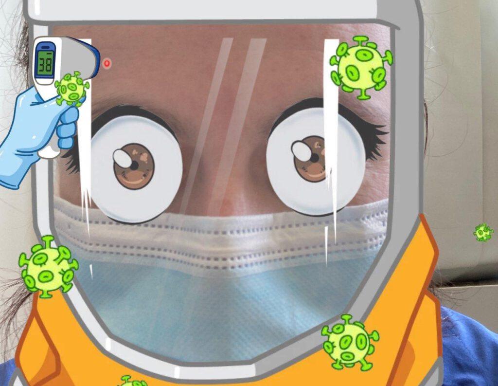 Eine Pflegende in voller Schutzausrüstung, das Faceschild und die Augen sind im Comic-Stil. Um sie herum ein gezeichnetes Fieberthermometer und Abbildungen des Coranavirus