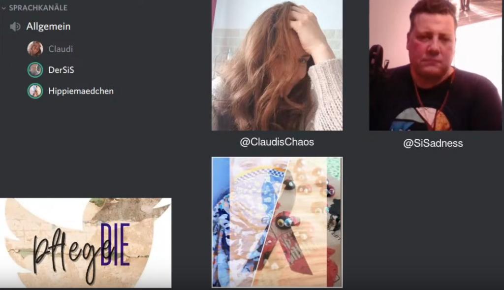 Screenshot der Liveübertragung. Links oben des Discordfenster, darumherum das Seitenlogo und Portraits von Claudi, Laura und SiS